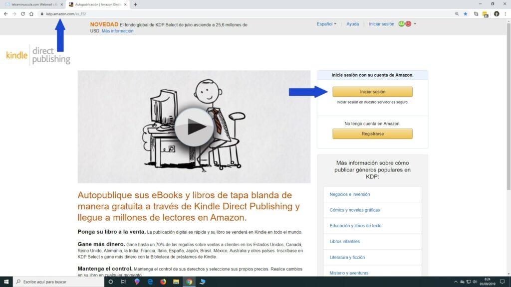 Entrar la cuenta de Amazon KDP para publicar un libro