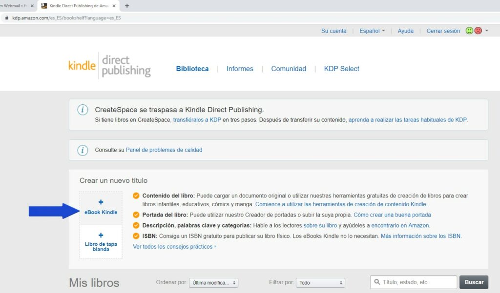 Crear ebook en Amazon KDP