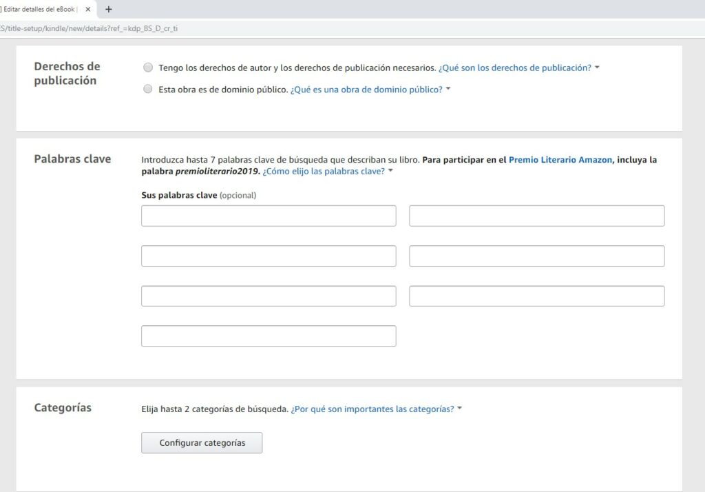 Derechos de publicación y categorías en Amazon KDP