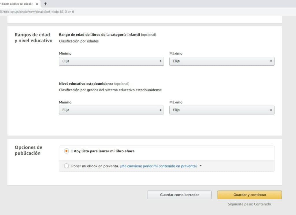 Rango de edad y opciones de publicación en Amazon KDP