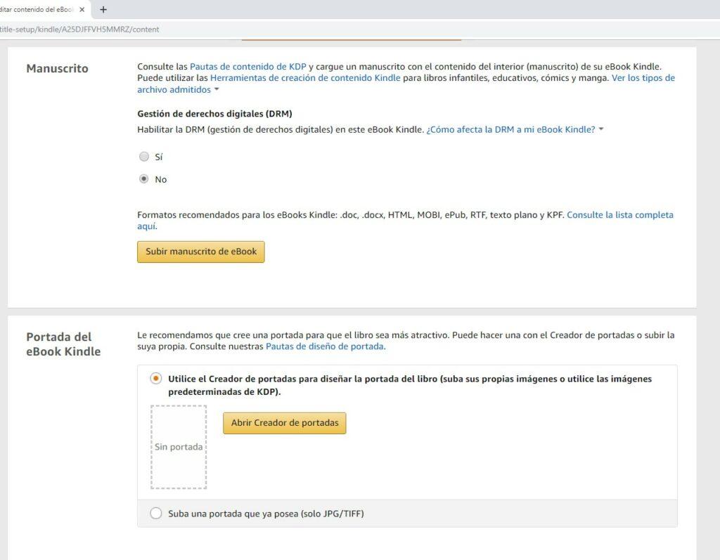 Subir manuscrito y portada en Amazon KDP