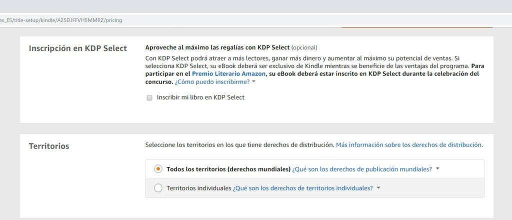 Publicar un libro en Amazon: Inscripción y territorios en Amazon KDP