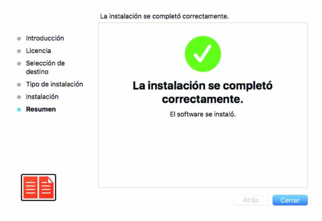 Instalación completada Adobe Digital Editions
