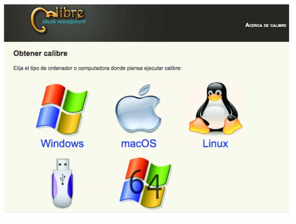 Elije el tipo de ordenador donde quieres instalar Calibre
