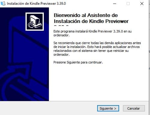 Asistente instalación de Kindle Previewer