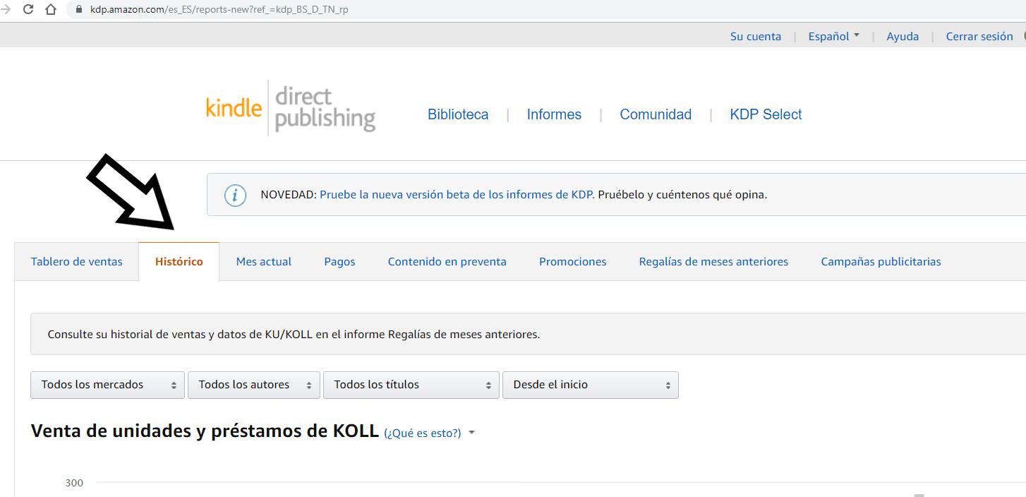 Histórico tablero ventas amazon kdp