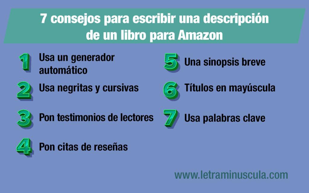 Infografía 7 consejos para escribir una descripción de un libro para Amazon